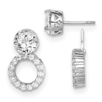 Sterling Silver Rhodium-plated 8mm Round CZ Post Earrings w/Circle Jackets