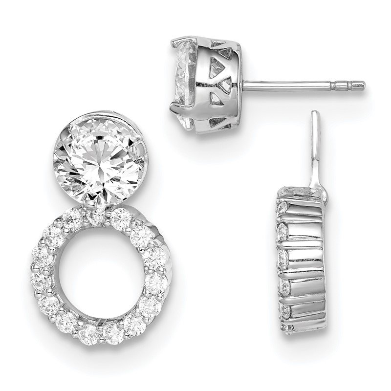 Quality Gold Sterling Silver Rhodium-plated 8mm Round CZ Post Earrings w/Circle Jackets