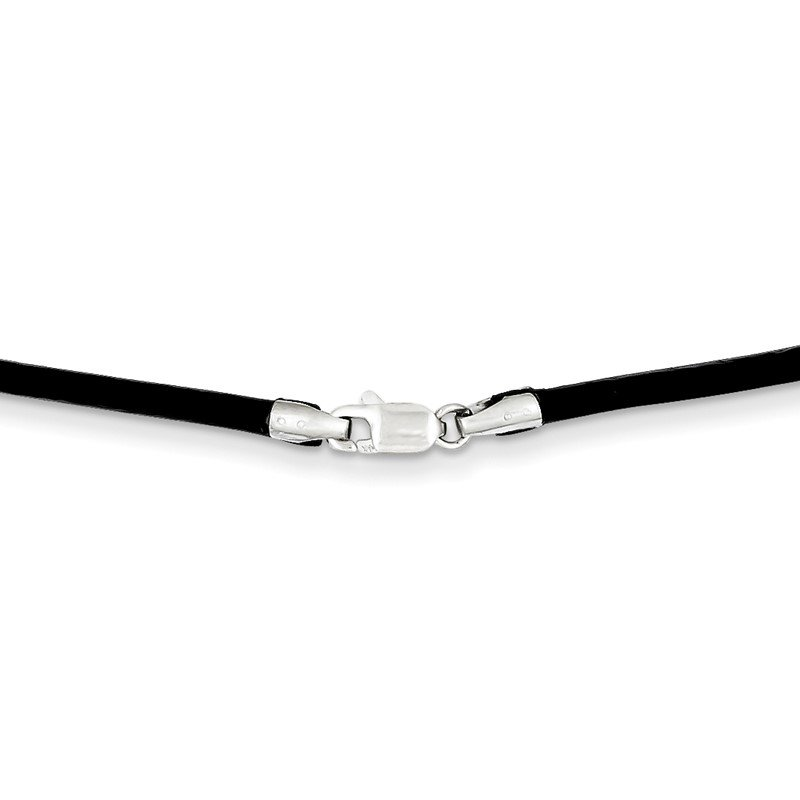 Quality Gold 14k White Gold 2mm 16in Black Leather Cord Necklace
