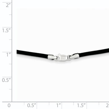 14k White Gold 2mm 16in Black Leather Cord Necklace