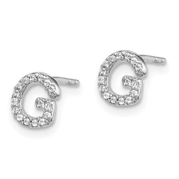 14k White Gold Diamond Initial G Earrings