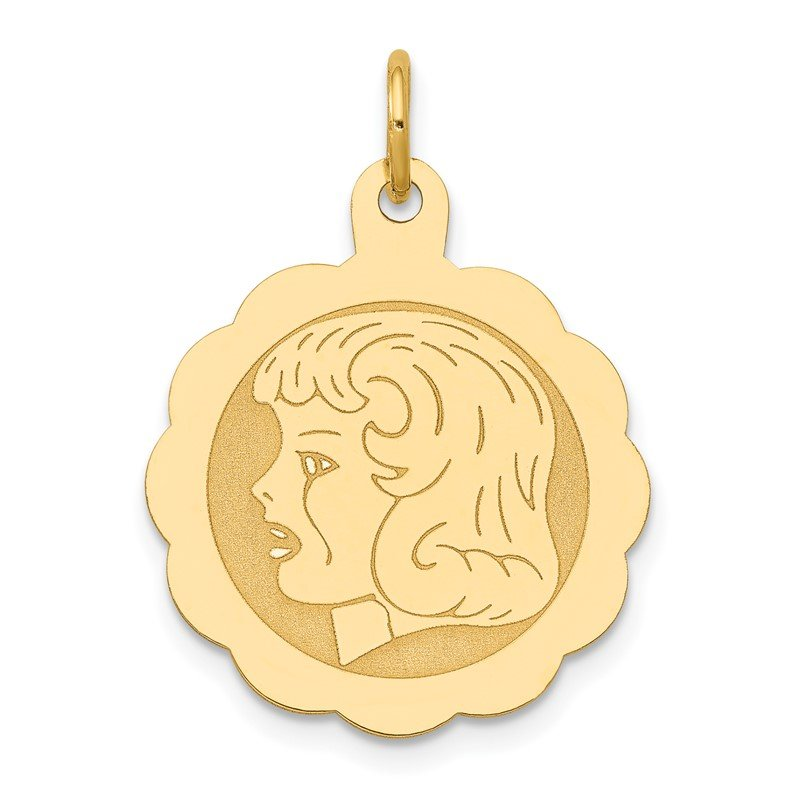 Quality Gold 14k Girl Head on .013 Gauge Engravable Scalloped Disc Charm