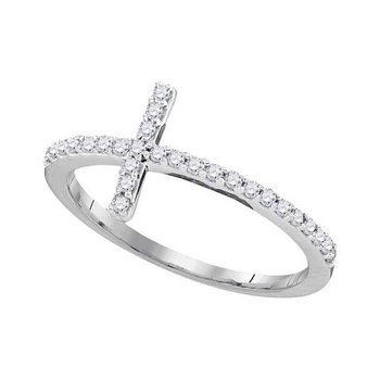 10kt White Gold Womens Round Diamond Slender Cross Faith Band Ring 1/5 Cttw - Size 5