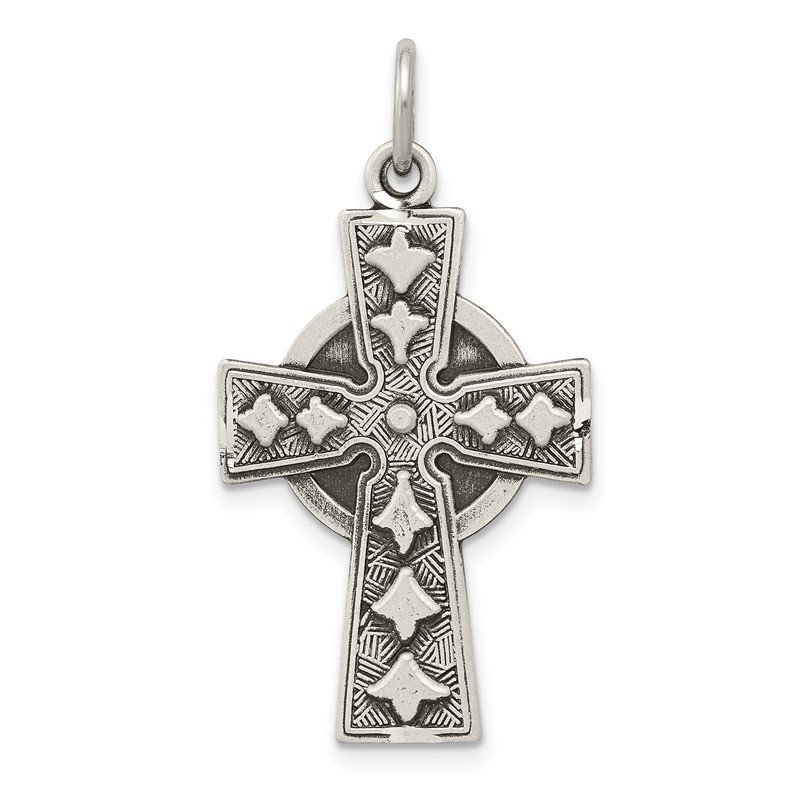 Quality Gold Sterling Silver Antiqued Irish Cross Pendant