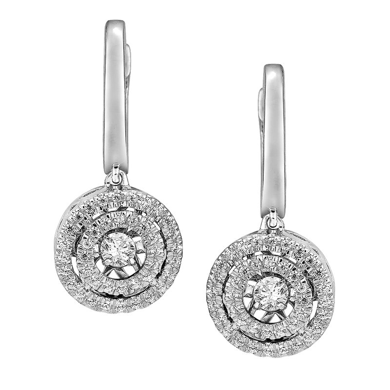 SDC Creations Dancing Diamond Round Halo Earrings in 14K White Gold