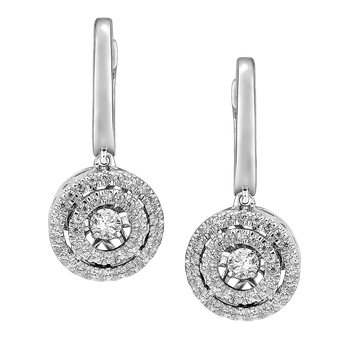 Dancing Diamond Round Halo Earrings in 14K White Gold