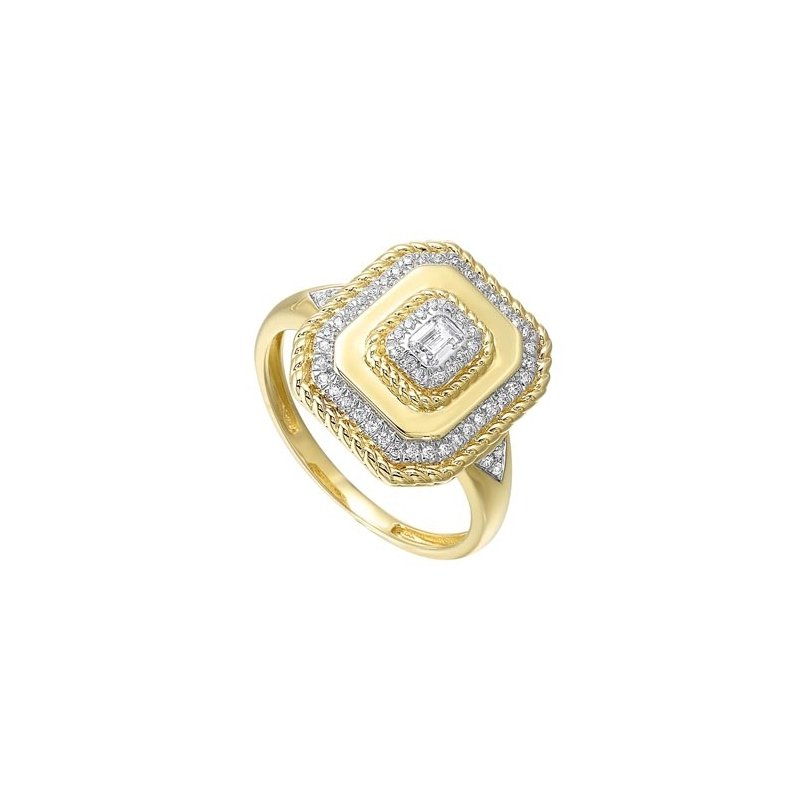 Gems One Diamond Twisted Rope Signet Ring in 14k Yellow Gold (1/3ctw)