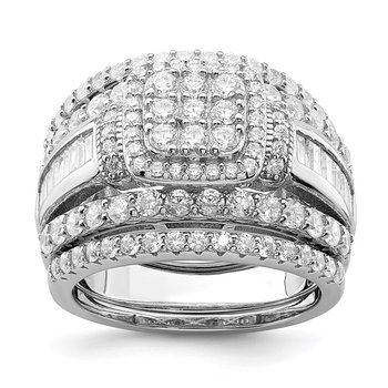 Sterling Silver Rhodium-plated CZ Square Cut 3 Piece Set Ring