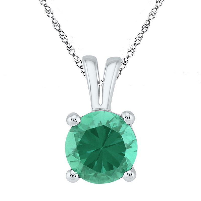Gold-N-Diamonds 10kt White Gold Womens Round Lab-Created Emerald Solitaire Pendant 1-1/3 Cttw