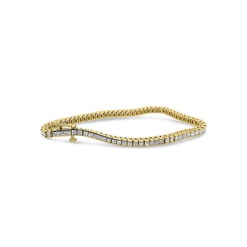 18K Yellow Gold Princess Diamond Tennis Bracelet 4 Carats