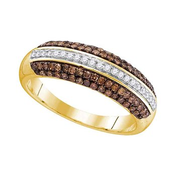 10kt Yellow Gold Womens Round Cognac-brown Color Enhanced Diamond Horizontal Stripe Band 1/2 Cttw