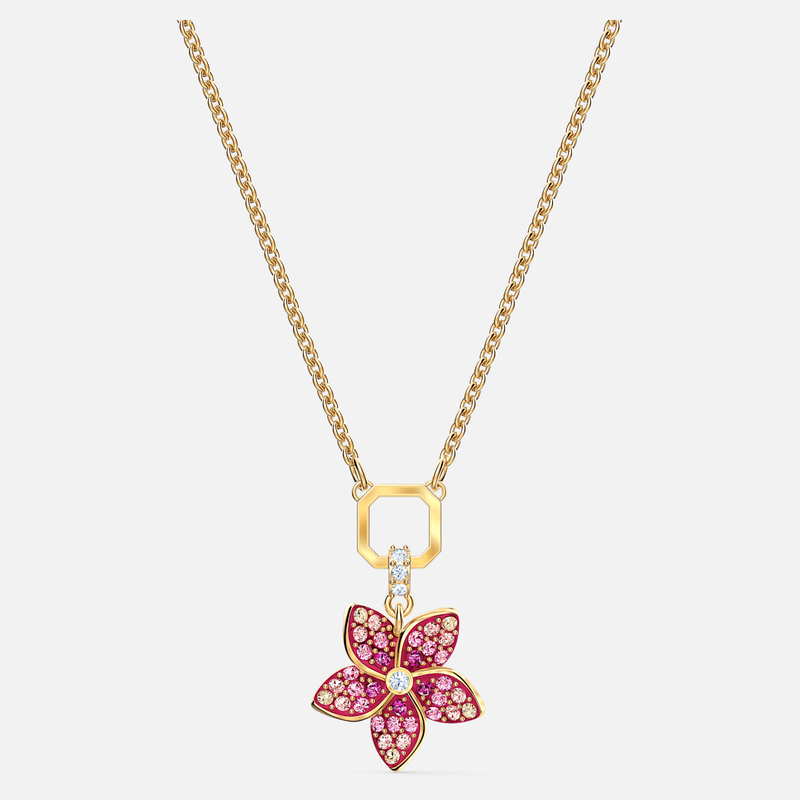 Swarovski Tropical Flower Pendant, Pink, Gold-tone plated