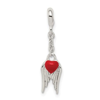 Sterling Silver Red Enameled Heart w/ Wings 1/2in Dangle Enhancer