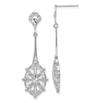 14k White Gold Diamond-cut Filigree Earrings