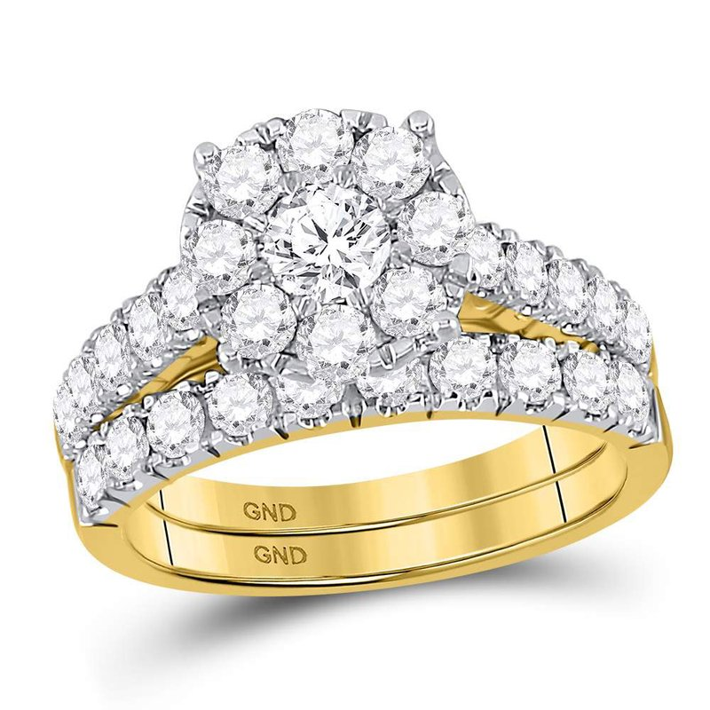 Kingdom Treasures 14kt Yellow Gold Womens Round Diamond Bridal Wedding Engagement Ring Band Set 2.00 Cttw