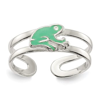 Sterling Silver Green Enameled Frog Toe Ring