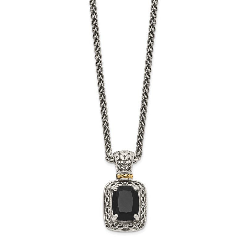 Quality Gold Sterling Silver w/14k Antiqued Onyx Necklace