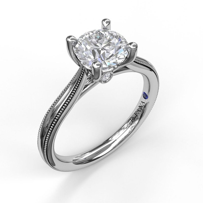 Fana Round Cut Solitaire With Milgrain-Edged Band