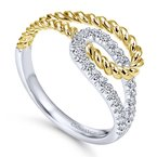 Gabriel Fashion 14K White/Yellow Gold Interlocking Loops Diamond Ring