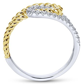 14K White/Yellow Gold Interlocking Loops Diamond Ring