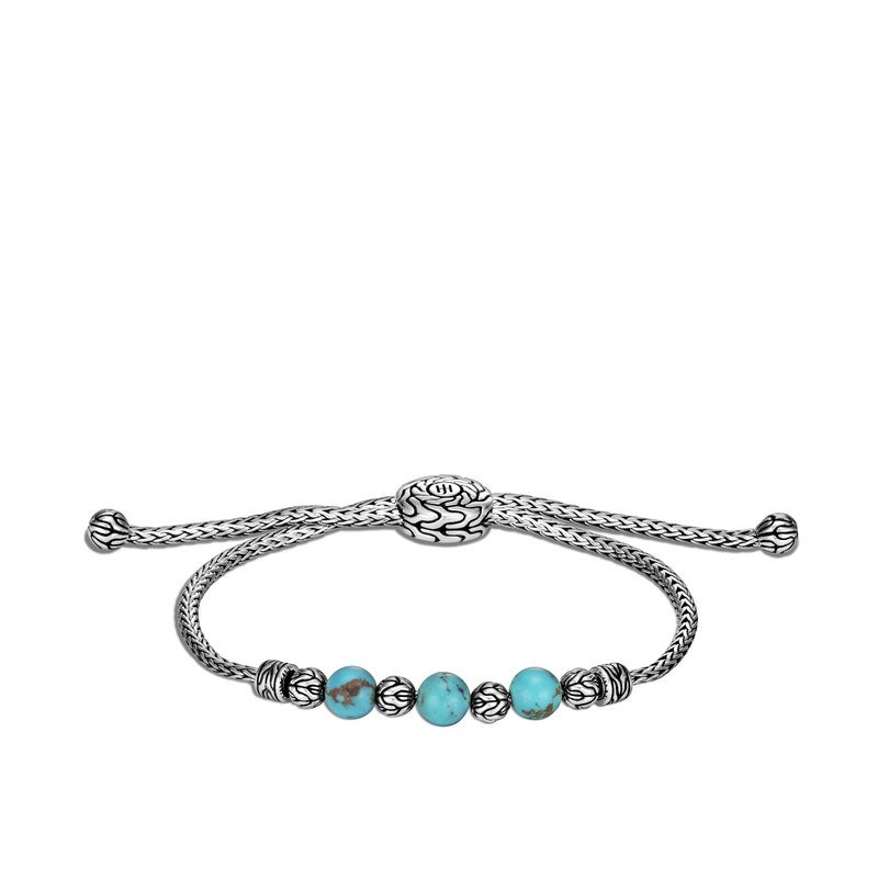 JOHN HARDY Classic Chain Pull Through Bracelet in Silver with Gemstone