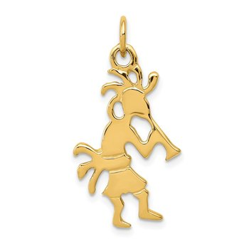 14k Polished 3-Dimensional Kokopelli Charm