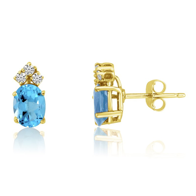 Color Merchants 14k Yellow Gold Oval Blue Topaz Earrings with Diamonds