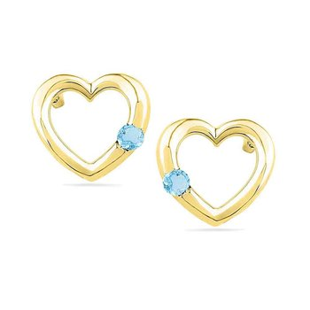 10kt Yellow Gold Womens Round Lab-Created Blue Topaz Heart Love Earrings 1/8 Cttw
