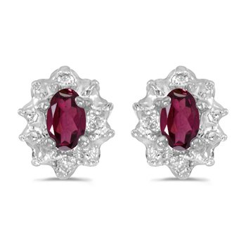 14k White Gold Oval Rhodolite Garnet And Diamond Earrings