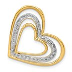 Quality Gold 14k .01ct. Diamond and Rhodium Triple Heart Chain Slide