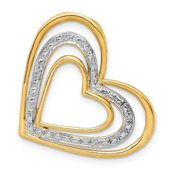 14k .01ct. Diamond and Rhodium Triple Heart Chain Slide