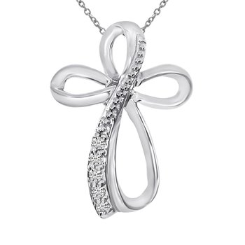 14K White Gold Diamond Cross Fashion Pendant