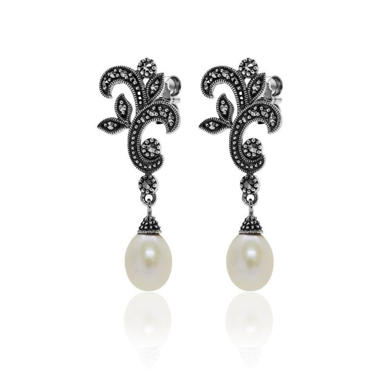 LARUS Jewelry Drop Pearl Earrings