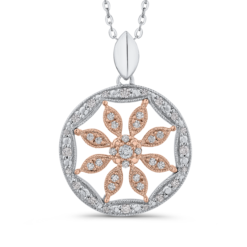 1/3 ct White Diamond Flower Pendant with Chain