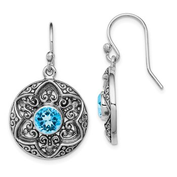 Sterling Silver Rhodium Antiqued Blue Topaz Shepherd Hook Earrings