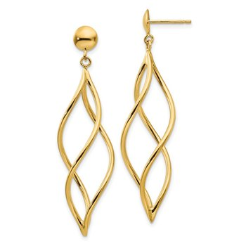 14k Curved Tube Dangle Earrings