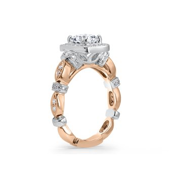 Kirk Kara 18K White and Rose Gold Halo Engagement Ring