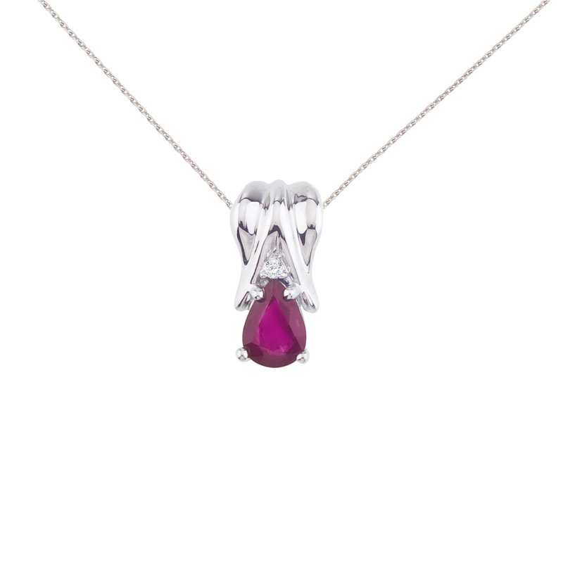 Color Merchants 14k White Gold Ruby Pear Pendant with Diamonds