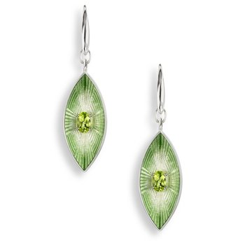 Green Marquise Wire Earrings.Sterling Silver-Peridot