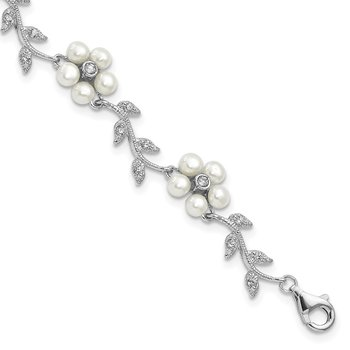 Sterling Silver Rhodium FW Cultured Pearl and CZ Floral Necklace