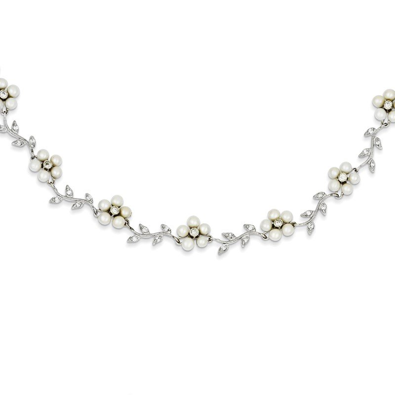 Quality Gold Sterling Silver Rhodium FW Cultured Pearl and CZ Floral Necklace