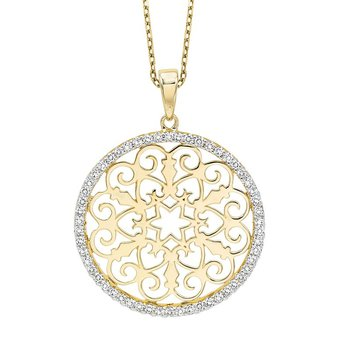 14K Yellow Gold Diamond Pendant 1/3 ctw