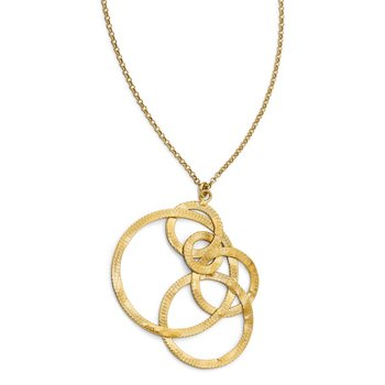 Leslie's Sterling Silver Gold-tone Textured Circle Necklace