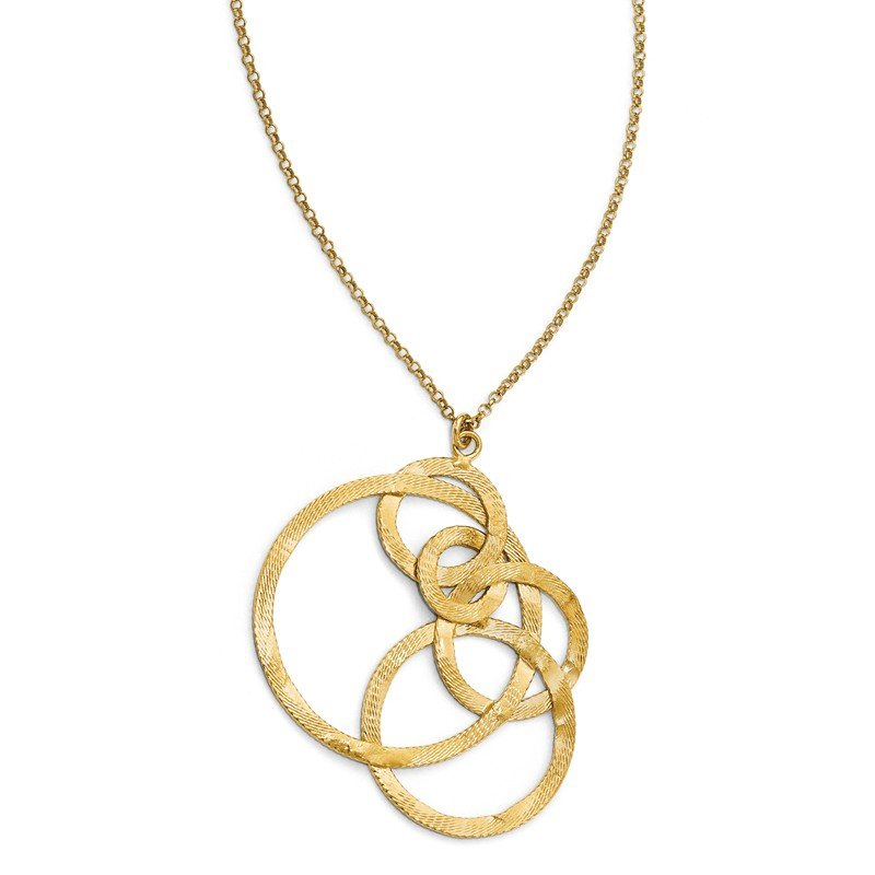 Leslie's Leslie's Sterling Silver Gold-tone Textured Circle Necklace