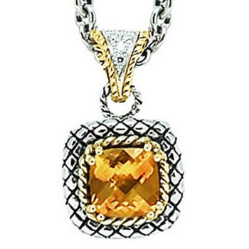 18kt and Sterling Silver Cushion Citrine and Diamond Button Pendant with Chain