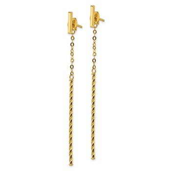 14k Twisted Stick Dangle Post Earrings