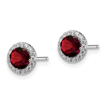 Sterling Silver Rhodium-plated Garnet & CZ Post Earrings