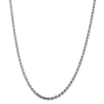 Sterling Silver Rhodium-plated 3mm Diamond-cut Rope Chain
