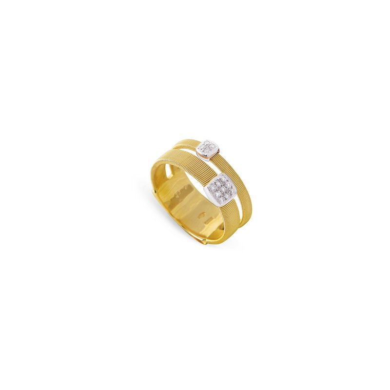 Marco Bicego  Masai Two Strand Ring with Diamonds in Yellow Gold