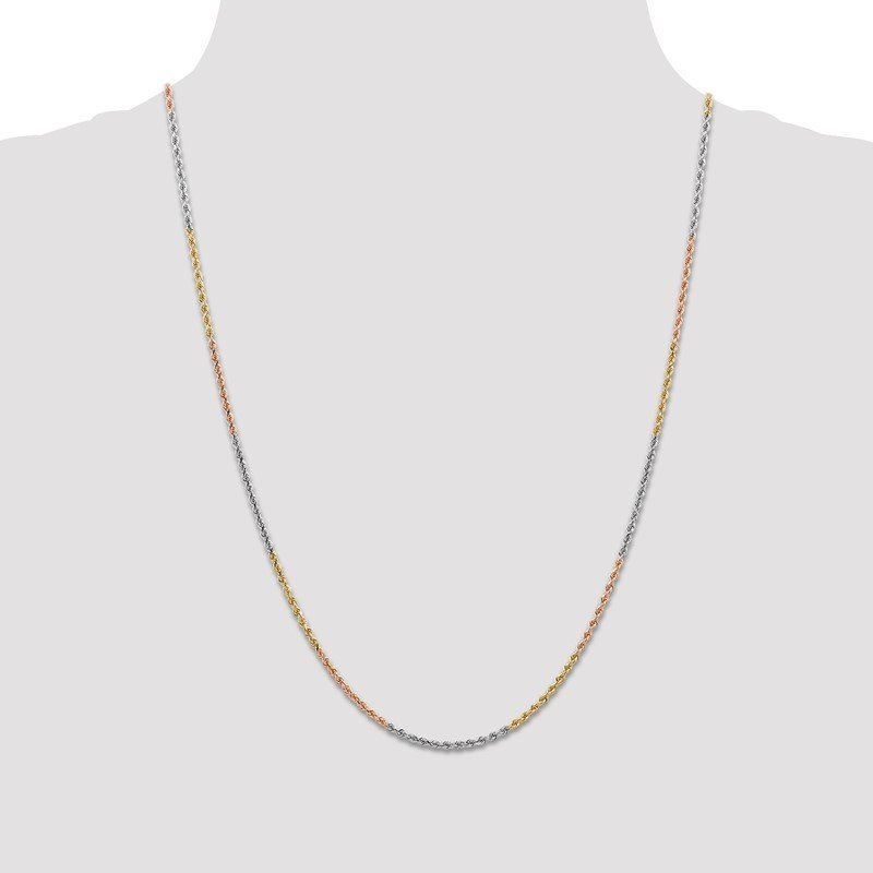 Arizona Diamond Center Collection 14k Tri-Color 1.75mm Diamond-cut Rope Chain Anklet